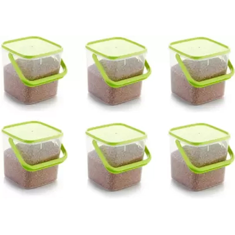 SOLOMON PACK OF 6 GREEN 3KG SQUARE CONTAINER