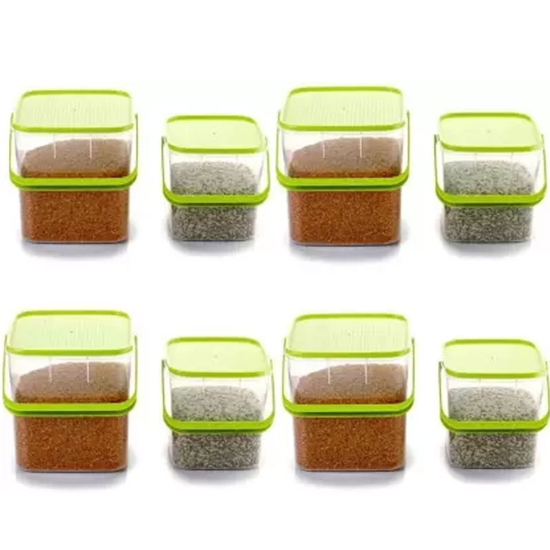 SOLOMON 3KG & 5KG SQUARE CONTAINER WITH GREEN CAP PACK OF 8