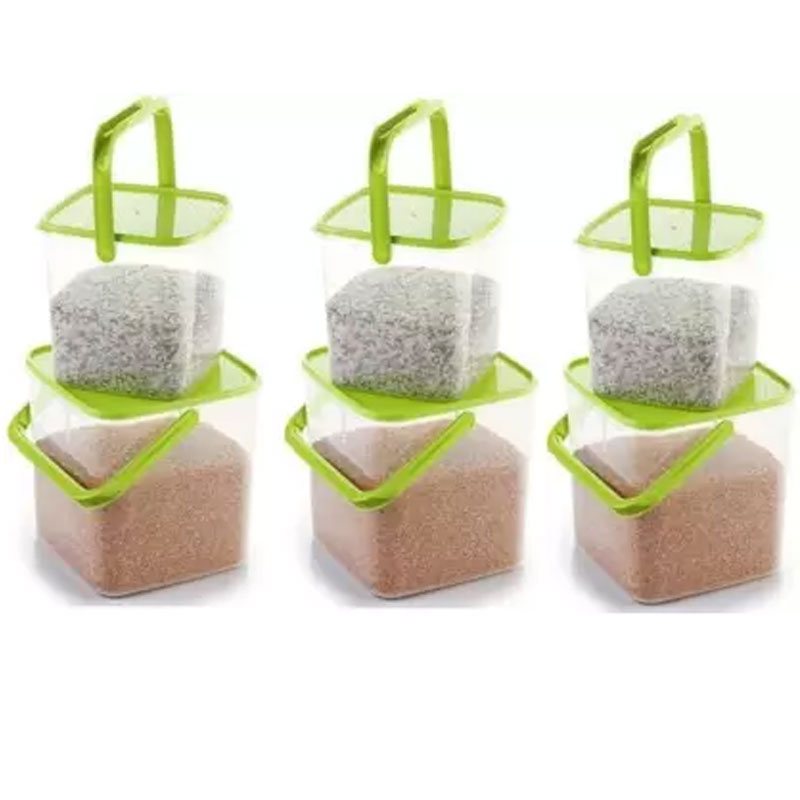 SOLOMON 3KG & 5KG SQUARE CONTAINER WITH GREEN CAP PACK OF 6