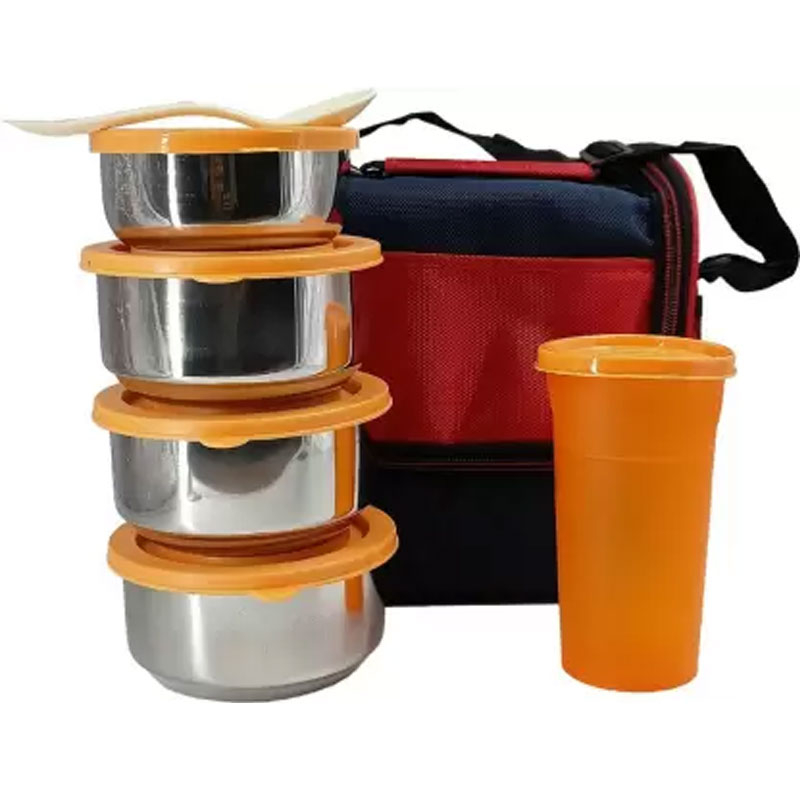 SOLOMON PREMIUM QUALITY COMPACT TIFFIN BOX (ORANGE)