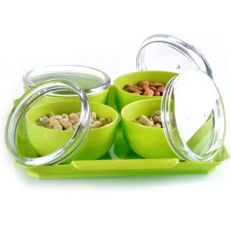Solomon Premium Quality Bowl, Tray Serving Set of 5 green