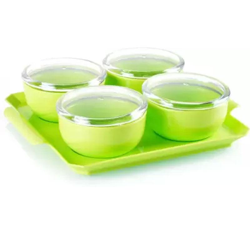 Solomon Premium Quality Bowl, Tray Serving Set of 5 green